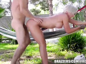 Lustful blonde chick with exciting tight body shape hotly sucks big dick
