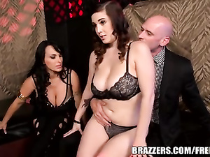 Bald fucker hotly kisses beautiful brunette dressed in sexy underwear