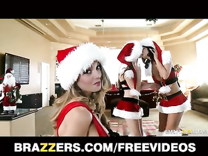 Three babes in sexy Christmas suits are fucking one handsome guy