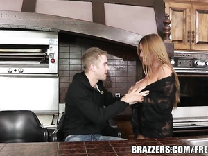 Lustful blonde deepthroats giant cock and gets fucked hard