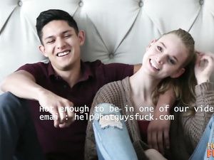 Skinny blonde teen chick and her handsome boyfriend are fucking hard in front of the camera