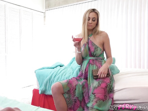 Skinny young blonde milf chick blowjobs stepson and fucks him hard